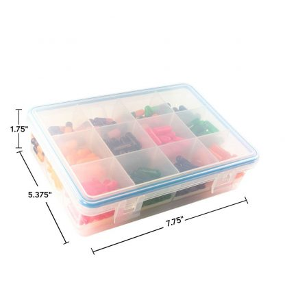 side view with measurements airtight gasketed container pill organizer supplement holder portable medicine BPA free -1