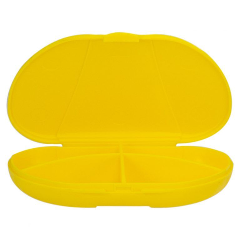 Yellow Vita Carry Pocket Clamshell Case Open and Empty