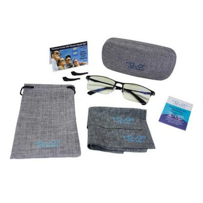 GMS Blue Light Blocking Glasses with Bag Blue Blocking Glasses Two Pairs of Nosepads Temple Tips and Hard Glasses Case