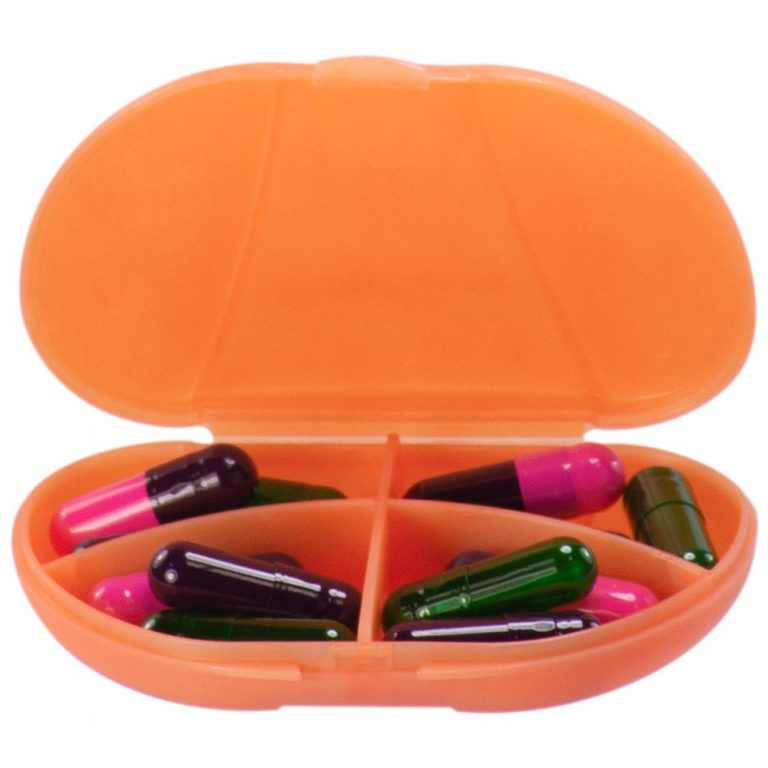 Pastel Orange Vita Carry Pocket Clamshell Case Open and Filled with Pills