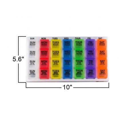 GMS 4x/Day Gasket Pill Organizer (Rainbow) Above View with Measurements: 5.6 Inches by 10 Inches
