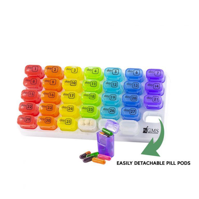 Pocket pill pods 31 day organization tray rainbow
