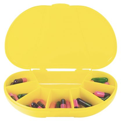 Yellow vita carry, vitacarry, pill case, pill box, vitamin box, vitamin organizer closed front facing filled with pills